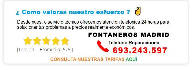TARIFAS PRECIO FONTANEROS MADRID
